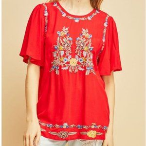 Entro Embroidered Boho Top - size Medium